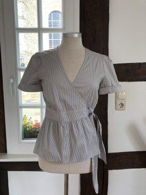 H&M Blusa cruzada color plata-gris Algodón