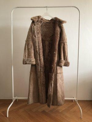 Abrigo de cuero marrón claro Pelaje