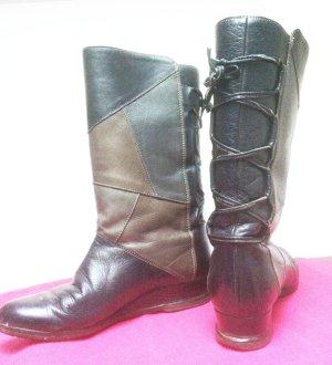 Futrzane buty czarny-brązowy Skóra