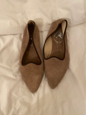 Ballerinas with Toecap grey lilac-dark brown