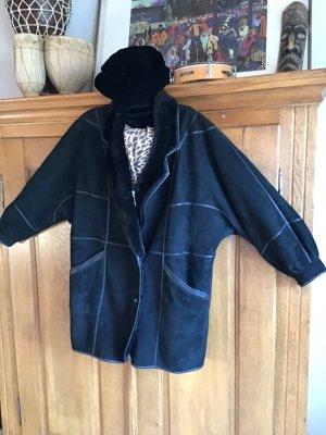 0039 Italy Manteau en cuir noir cuir