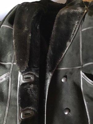 0039 Italy Skórzany płaszcz czarny Skóra