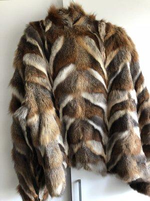 100% Fashion Veste en fourrure multicolore pelage