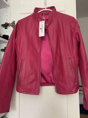 Echtes Lederjacke Tom Tailor neu S schönes Pink NP250€