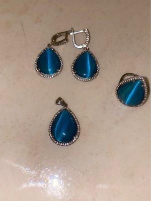 Orecchino d'argento argento-blu