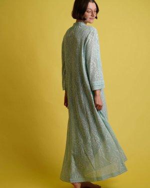 Hanro of Switzerland Robe de nuit bleu clair-turquoise