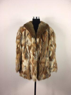 Echtfell Jacke mit Revers Felljacke Winterjacke Vintage Echtfelljacke Kurzmantel beige 40 42