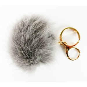 Porte-clés gris brun fourrure