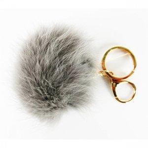 ECHTFELL Schlüssel- / Taschenanhänger Bommel Pompom Pelz GRAU / HERBST WINTER 2019 / NEU