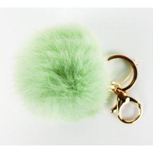 ECHTFELL Schlüssel- / Taschenanhänger Bommel Pompom Pelz MINT / SOMMER 2020 / NEU
