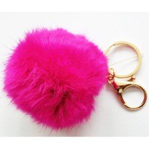 Porte-clés rouge brique fourrure