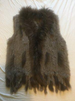 Futrzana kamizelka brąz-szaro-brązowy Skóra