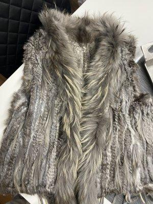Fur vest light grey-grey