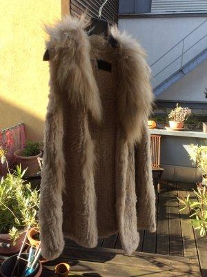 Milestone Smanicato di pelliccia bianco sporco-color cammello Pelliccia