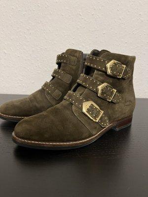 Echtleder Boots Stiefelette Khaki Leder