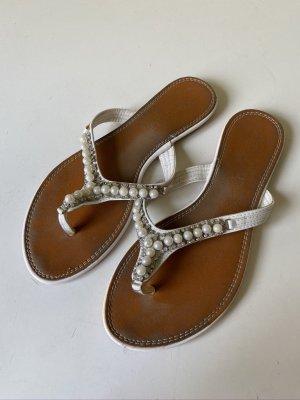 Echtleder Flip Flops mit Perlenbesatz Gr. 39