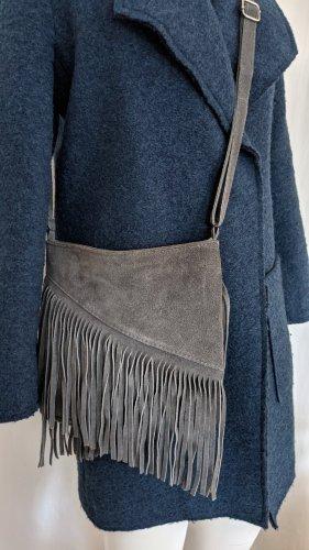 Genuine Leather Borsa con frange grigio