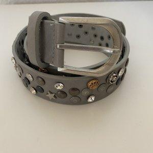 no name Leather Belt grey