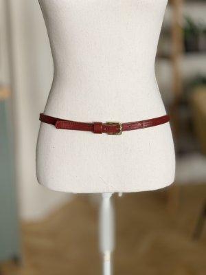 Cinturón de cadera rojo oscuro-color oro Cuero