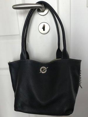 Echtleder- Handtasche in dunkelblau / beige - ungetragen