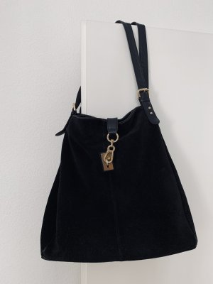 Echtleder Handtasche Vintage Wildleder Schultertasche schwarz