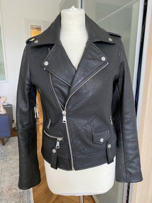7 For All Mankind Leather Jacket black