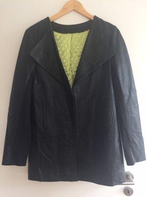Silvian heach Veste en cuir noir-vert pâle