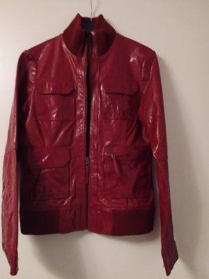 Tom Tailor Veste en cuir rouge foncé