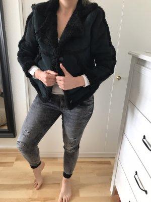 Unbekannte Marke Giacca in pelliccia nero-grigio Pelle