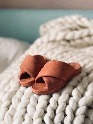 H&M Premium Sandalias de tiras naranja oscuro-bermejo Cuero