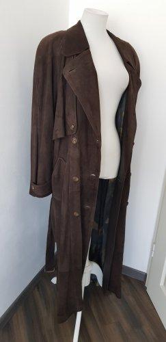 Elegance Butik Manteau en cuir brun cuir