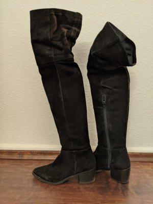 Echtleder Rauleder Stiefel Overknees schwarz H&M