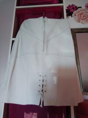 Falda de cuero blanco puro Cuero