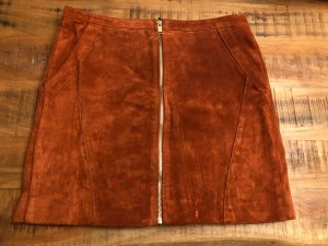 Only Fashion Leather Skirt dark orange-gold-colored
