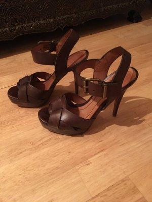 Zara Platform High-Heeled Sandal dark brown