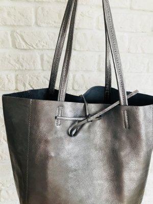 Echtleder Shopper Handtasche Henkeltasche metallic NEU weich