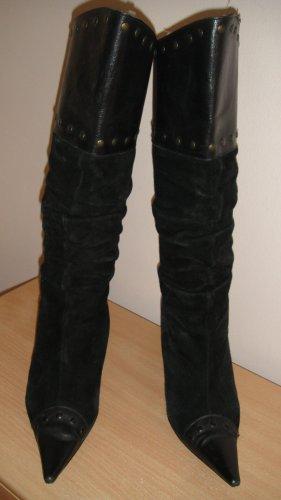 aus Italy Plateauzool Laarzen zwart Leer