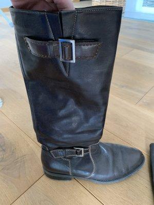 ara Jackboots dark brown-cognac-coloured leather