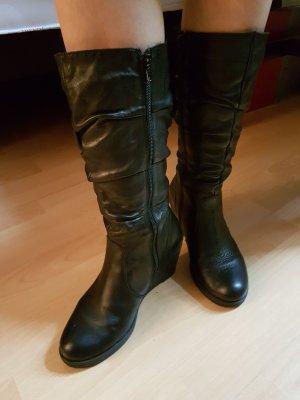 Echtleder-Stiefel mit Keilabsatz