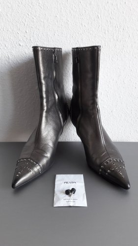 Prada Booties silver-colored leather