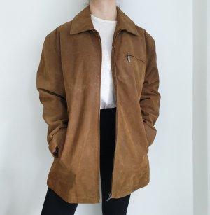 Echtleder True Vintage Lederjacke Bikerjacke braun Oversize 54 Mantel Jacke