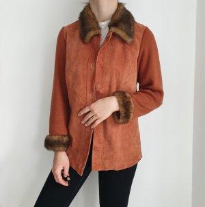 Echtleder True Vintage Lederjacke Bikerjacke orange Oversize Mantel parka S Jacke