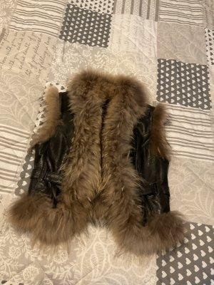 Futrzana kurtka czarny Skóra