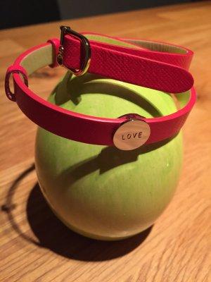Bracelet en cuir magenta-argenté