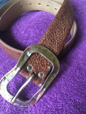 Leather Belt brown-silver-colored leather