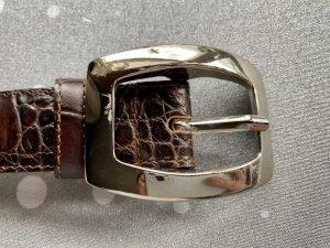abro Leather Belt dark brown-silver-colored