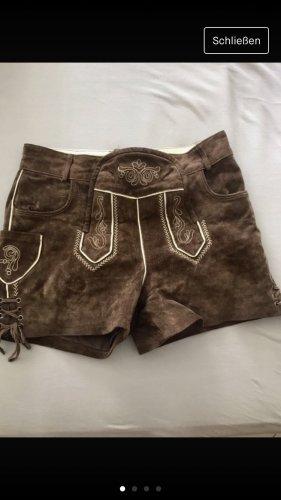 Pantalone in pelle tradizionale color cammello-marrone scuro