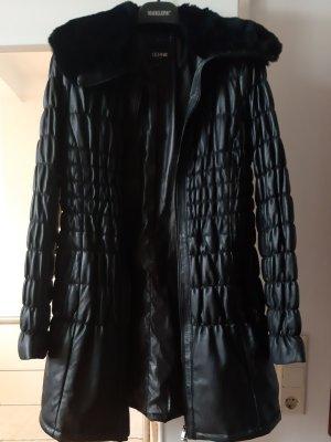 Echtlederjacke, mit Pelzkragen, lang, schwarz, Größe M