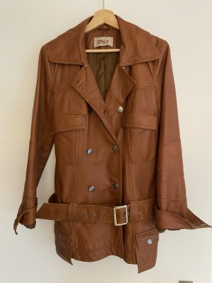 Only Cappotto in pelle cognac