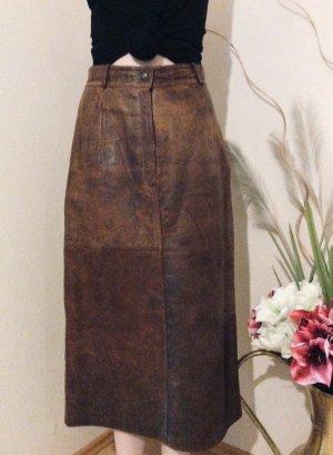 Jupe en cuir brun cuir